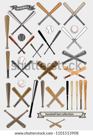 Crossed Baseball Bats Ball Set Stock Illustration 1101513908