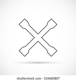 Crossed car wrench outline icon. Car repair service equipment