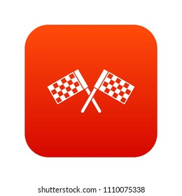 Crossed chequered flags icon digital red for any design isolated on white illustration