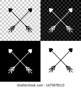 Crossed Cupid arrow heart, Valentines Day cards element icon isolated on black, white and transparent background