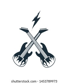 Crossed electric guitar colored black with white flame tongue flat raster illustration isolated on white background. Rock symbol for music design.