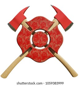 Crossed fire axes behind firefighting symbol isolated on a white background. - 3D Illustration