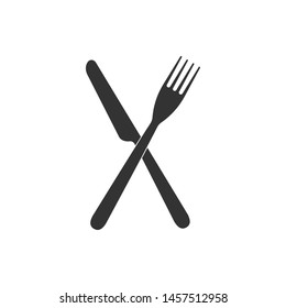 Crossed fork and knife icon isolated. Restaurant icon. Flat design
