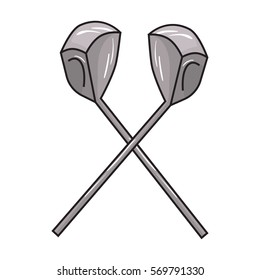 Crossed golf clubs icon in cartoon style isolated on white background. Golf club symbol stock bitmap, rastr illustration.