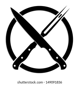 crossed knife and fork symbol / black and white illustration