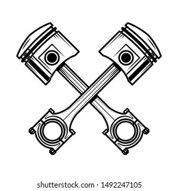 Crossed motorcycle pistons. Design element for poster, flyer, card, banner.