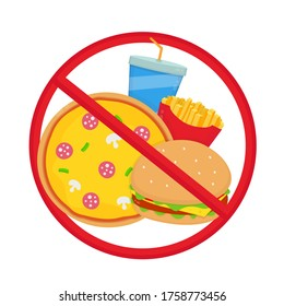 Crossed out junk food. Pizza, burger, french fries,soda.flat cartoon illustration icon design. Isolated on white background.Healthy dietary,habits concept