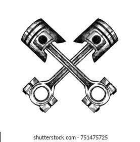 crossed pistons on the white background