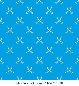 Crossed sabers pattern repeat seamless in blue color for any design. geometric illustration