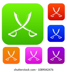 Crossed sabers set icon color in flat style isolated on white. Collection sings illustration