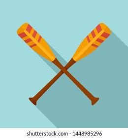 Crossed striped oars icon. Flat illustration of crossed striped oars icon for web design