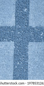 Crosshair of two white irregular lines. On a light gray background, two white wide lines that are filled with blue lines forming contour spots. Everything in a square blue matrix.