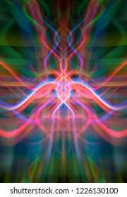 Crossing lines creates a beautiful multicolored ornament. Fashionable illustration.