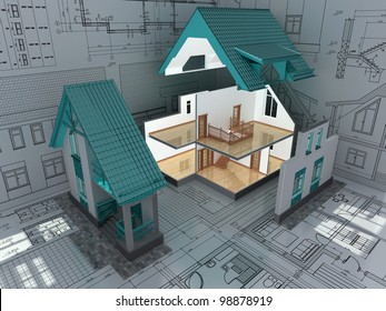 The cross-section of residential house on architect drawing. 3D image.