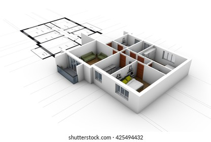 Cross-section of residential house over blueprints. 3D rendering
