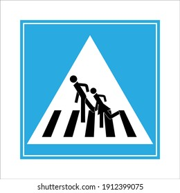 Crosswalk sign black in blue square. Icon a pedestrian place for child near school. Symbol safety traffic human on road. Label for banner about crossing way. Design element. illustration