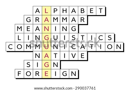 Crossword Puzzle Illustration Word Language Highlighted Stock