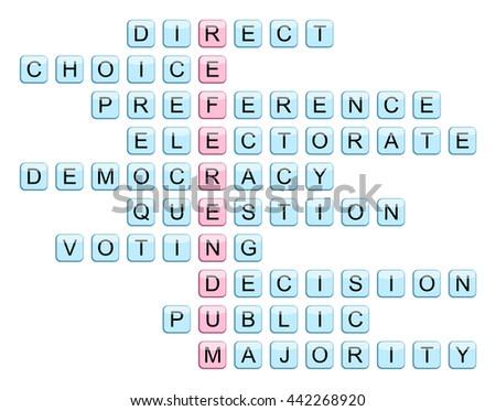 Crossword Word Referendum Related Words Direct Stock Illustration
