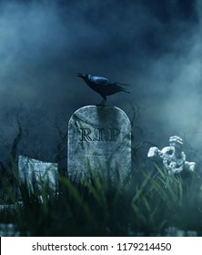 Crow on a gravestone in halloween night,3d illustration