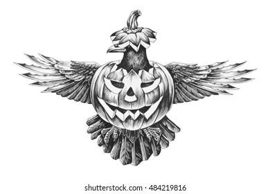 da985cfad5271 The crow in the pumpkin on Halloween. Pencil illustration