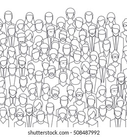 The crowd of abstract people, line style.