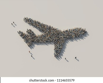 crowd as airplane, 3d illustration