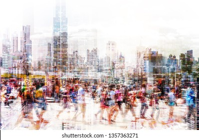 Crowd of anonymous people walking on busy city street - abstract city life