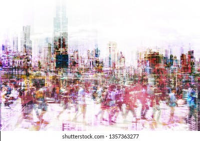 Crowd of anonymous people walking on  street - abstract city life concept