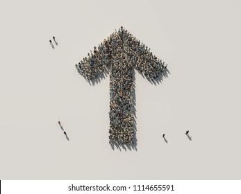 crowd as up arrow, 3d illustration