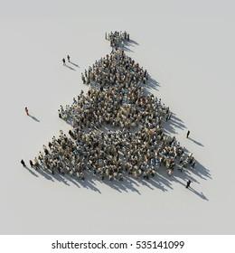 foule en forme d'arbre de noël, illustration 3d