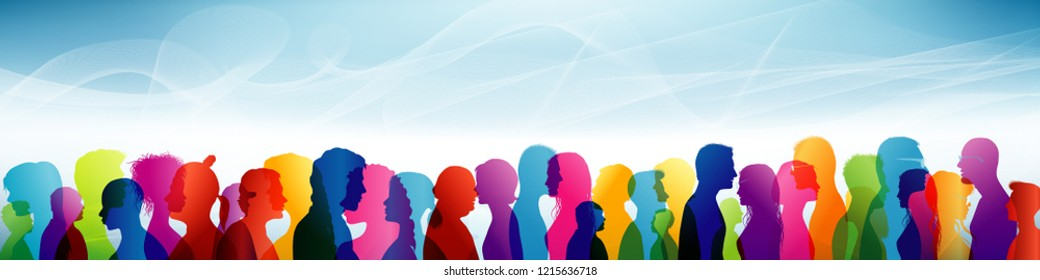 Crowd. Group of people. Communication between people. Team. Colored shilouette profiles