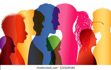 Crowd. Group of people. Communication between people. Colored shilouette profiles