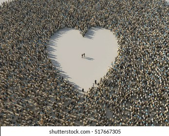 the crowd in a heart shape, 3d  illustration