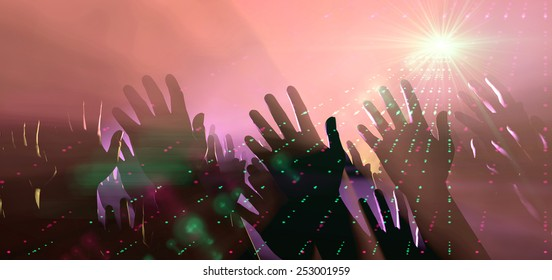A crowd level view of hands raised from the spectating crowd interspersed by colorful spotlights and a smokey atmosphere
