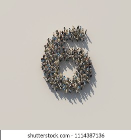 crowd as number 6, six, 3d illustration
