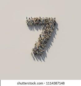 crowd as number 7, seven, 3d illustration