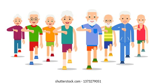 Crowd of older, active people go. Adult men and women perform exercise static walking. Physical exercises, training, workout, sport, healthy lifestyle. Flat style illustration.