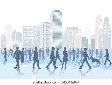 Crowd and pedestrians in the city