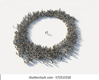 crowd of people as a circle, 3d illustration