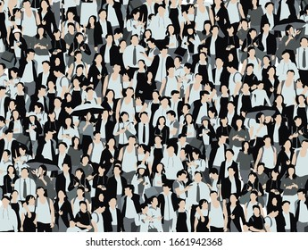 Crowd of people illustration, many men and women