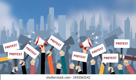 Crowd of people protesters. Flat illustration.
