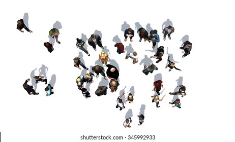 a crowd of people top view on a white background