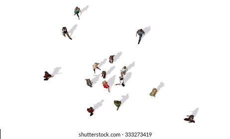 crowd of people in top-view isolated on white background