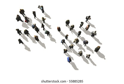 a crowd of people in top-view on white