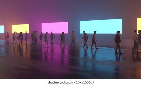 crowd of people walking along a misty street, 3d illustration