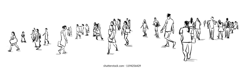 crowd of people walking freehand ink sketch panorama view isolated on white background