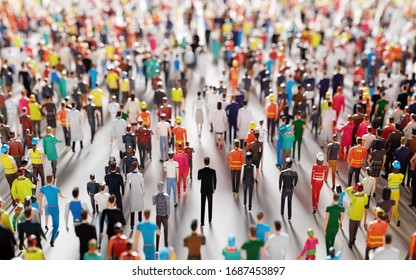 Crowd of people walking in one direction. Low poly style. Society and diverse world. Conceptual 3D illustration