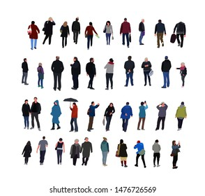 crowd of people walking in the street dressed in demi-season clothes. Group of funny men, women in autumn spring clothes. Flat cartoon