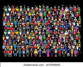 crowd of people wearing masks - quarantine virus threat, pixel art concept illustration