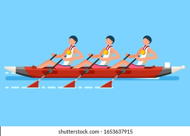 Crowd of persons celebrate summer games athletics medal. Sportive people celebrating canoeing team. Canoeist athlete symbol victory celebration. Sports cartoon symbolic flat illustration